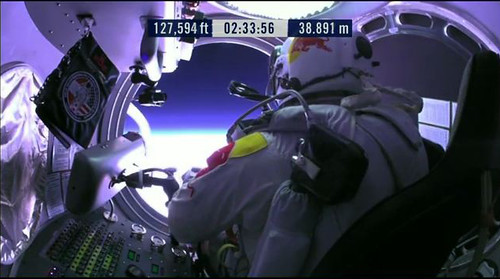 Felix Baumgartner avant de sauter dans l'espace
