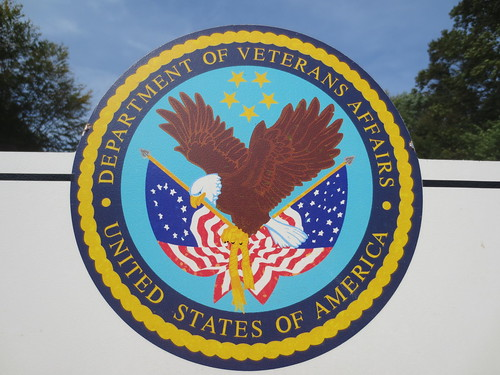 United States of America, Department of Veterans Affairs badge at Calverton National Cemetery main entrance