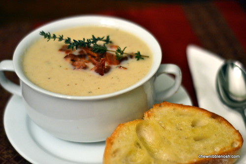 Roasted Cauliflower Soup with Aged Cheddar and Bacon