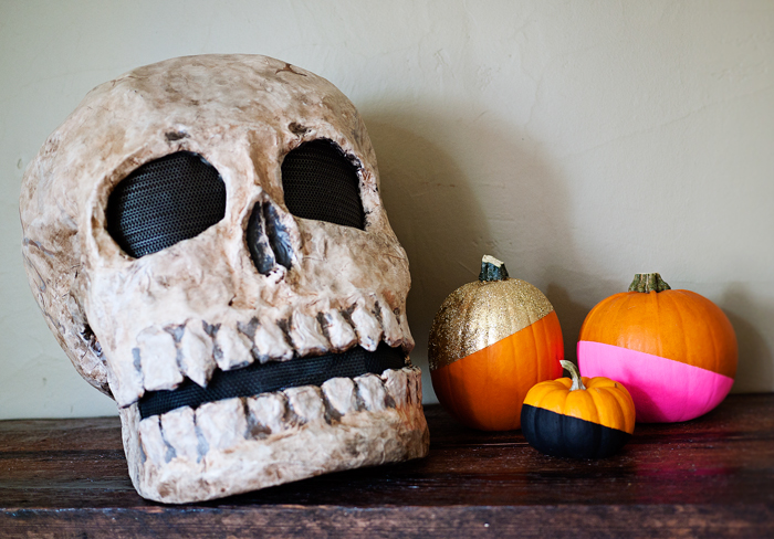 Paint Dipped Pumpkins & Skull
