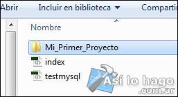 Crear carpeta 'Mi_Primer_Proyecto'