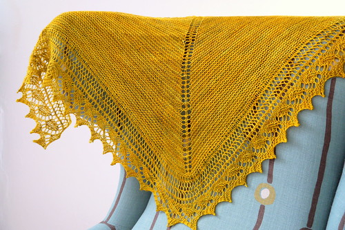 Birthday Shawl, chair close up