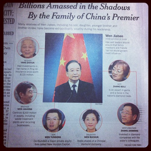 After reporting on the enormous wealth that has been accumulated by the family of China's prime minister, Wen Jiabao: http://nyti.ms/SAFRLA China blocked access to the New York Times' websites: http://nyti.ms/SBRBO6