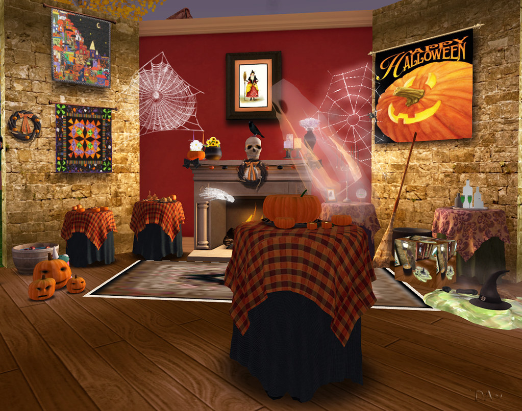 you get what you see mesh halloween village quilt halloween flag la galleria pumpkin punch melted witch cauldron spider webs lighted halloween
