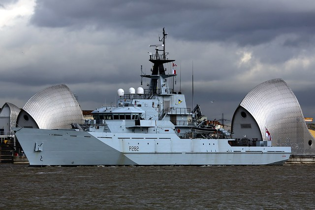 HMS Severn at the Thames Barrier