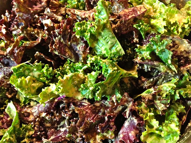 Red and Green Kale Salad with Delicious Homemade Vegan Garlic Dressing ...