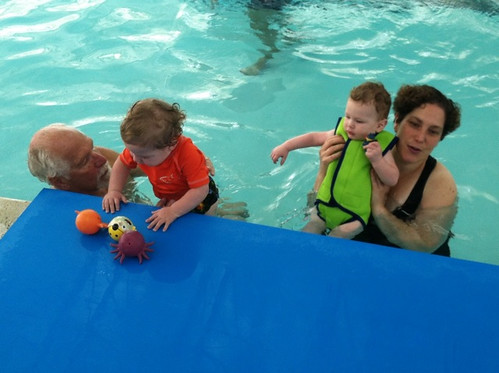 Swimming with Grandpa and Cousin P