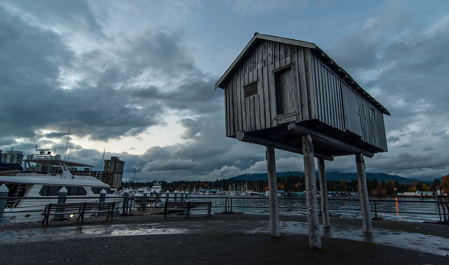 "Liz Magor, ""LightShed,"" 2005, cast aluminum, public art installation, Coal Harbour, Vancouver"