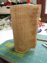 Iron Craft Challenge #22 - Stenciled Burlap Candleholders