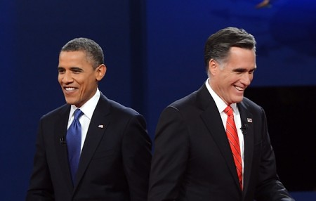 A photo of Barack Obama and Mitt Romney at a political debate