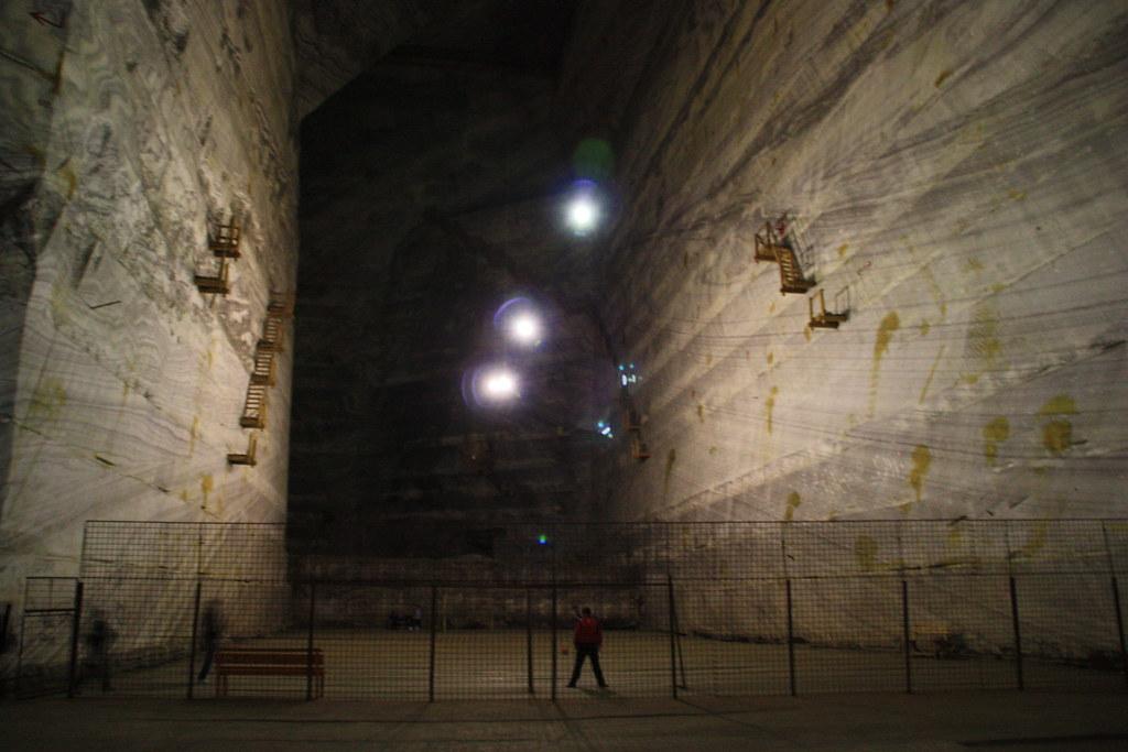 Football field inside the salt mine