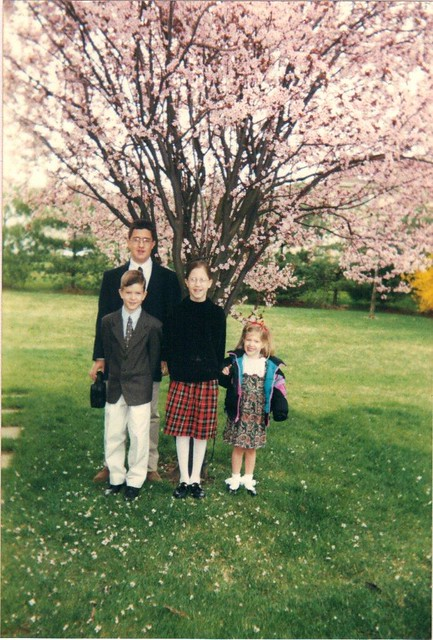 Kids with Cherry Bloosom Tree