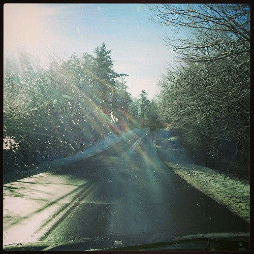 Driving in a #winter wonderland! #newengland #snow #sun #trees