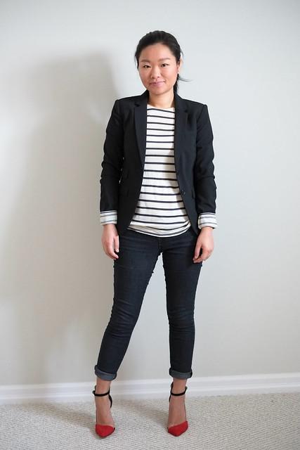 Gap blazer, Zara stripe shirt and red beige ankle strap heels