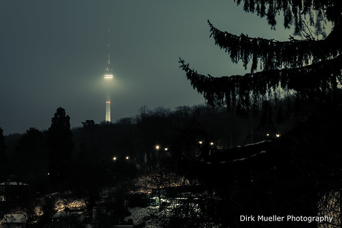 Foggy television tower by Dirk Mueller Photography