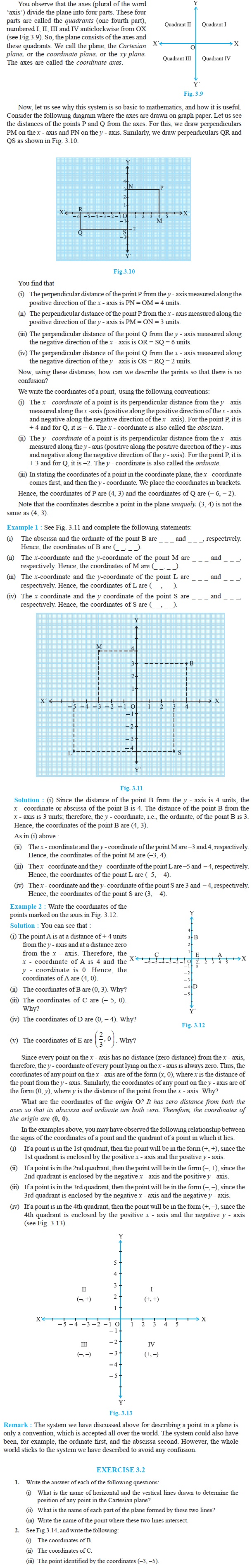 NCERT Class IX Maths Chapter 3 Coordinate Geometry