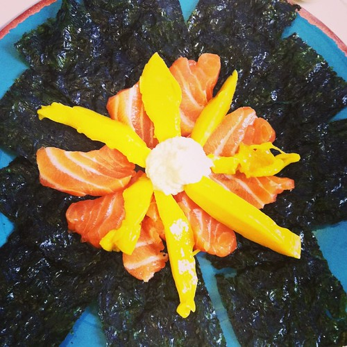 Salmon Sashimi and mango