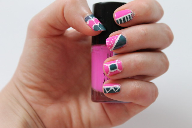 Pink and green geo nail art