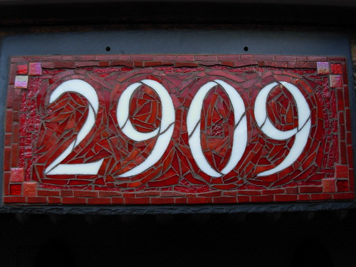 Custom Mosaic House Number in Red by Nutmeg Designs
