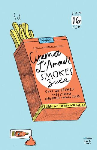CINEMA LAMOUR/SMOKES/ZULA gigposter by Ohara.Hale