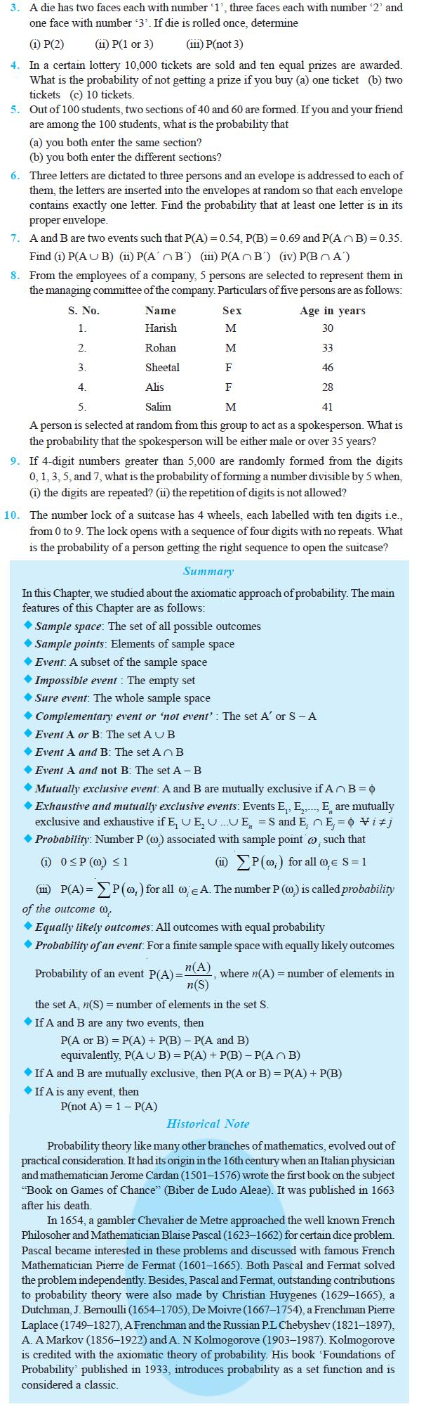 NCERT Class XI Mathematics Chapter 16 – Probability