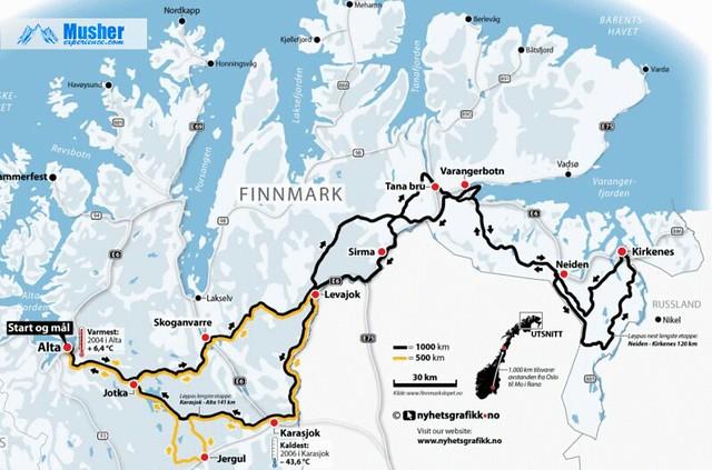 Parcours de la Finnmarkslopet 2013