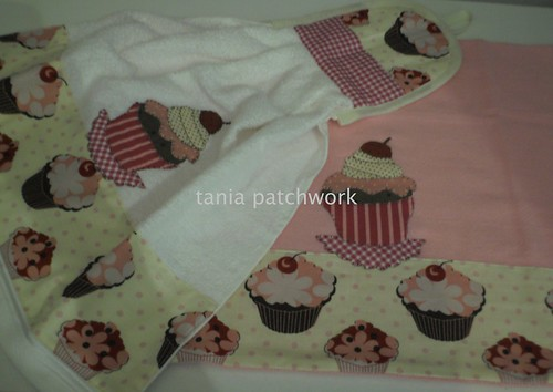 Kit Cozinha Cupcake Rosa e Chocolate..... by tania patchwork