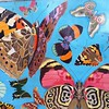"""Butterfly magic""- Close up of mural by my grandfather ralf Johnstone circa 1970"