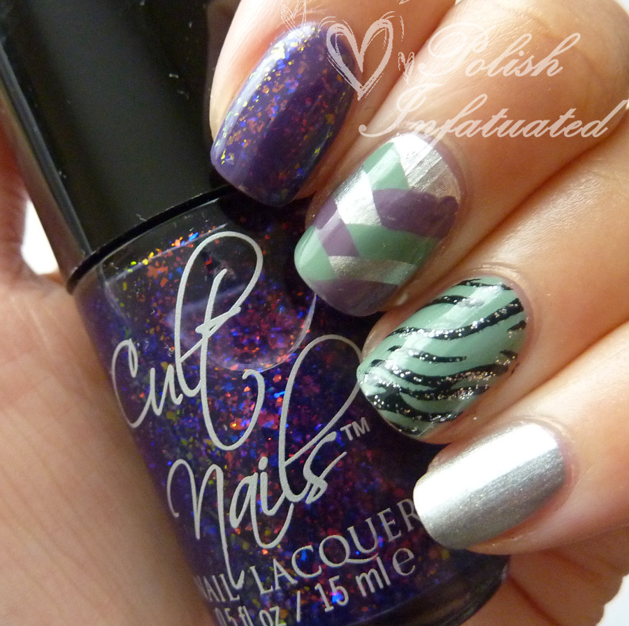 purple&green nail art mash1