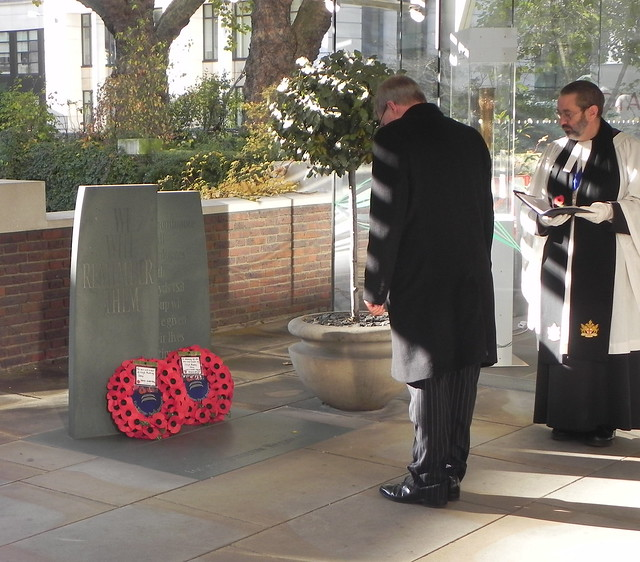 LAYING THE WREATH AT LLOYDS BANK MEMORIAL