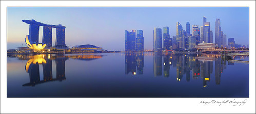 city longexposure sunset panorama sunrise buildings reflections landscape lights singapore cityscape marinabay marinabaysands