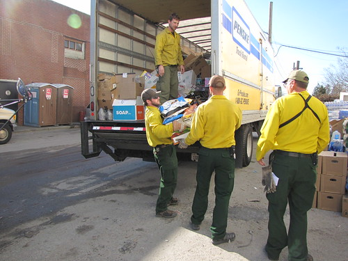 U.S. Forest Service staff loads relief supplies for New Yorkers affected by Hurricane Sandy.