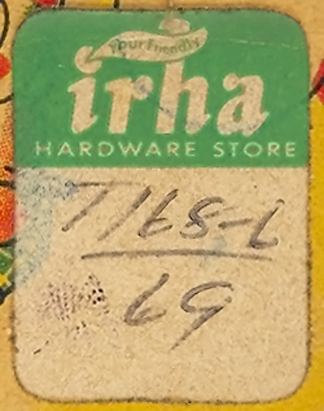 Irha Hardware Store Price Sticker