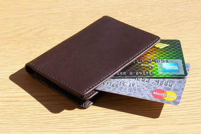 Wallet Containing Credit and Debit Card