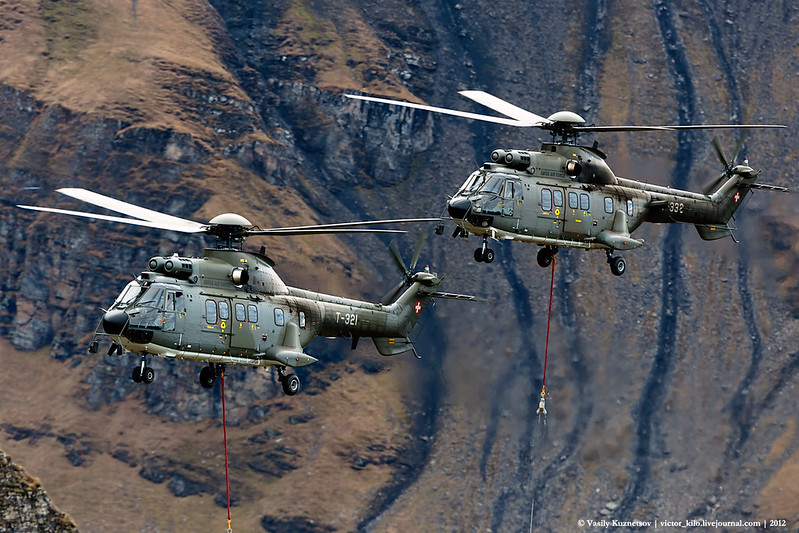 Swiss AF Helicopters flyby at Axalp