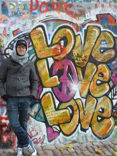 James at the John Lennon Wall in Prague, Czech Republic