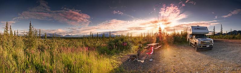 Camping in impressive dusk