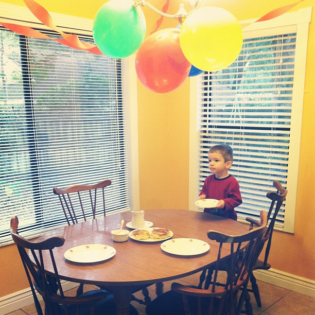 Pancakes for the birthday boy. :) #3rdbirthday