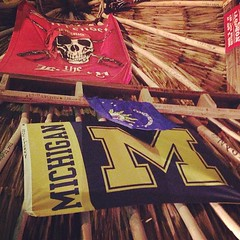 On the ceiling of Palapa Bar. We are taking over the world, people. Go Blue!