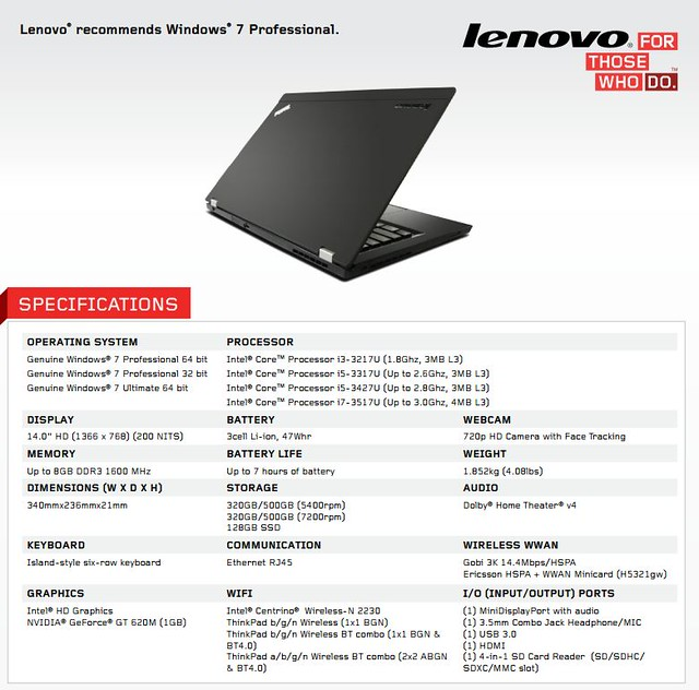 ThinkPad T430u specification