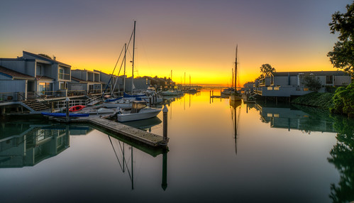 orange water sunrise boats outdoors hdr