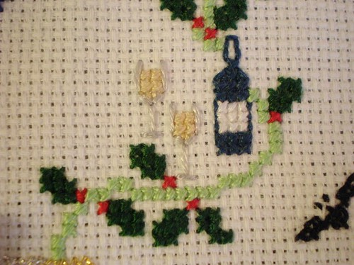 Cross Stitch Champagne and Glasses