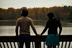 [Free Images] People, Couple, People - Behind, People - River / Lake ID:201212011600