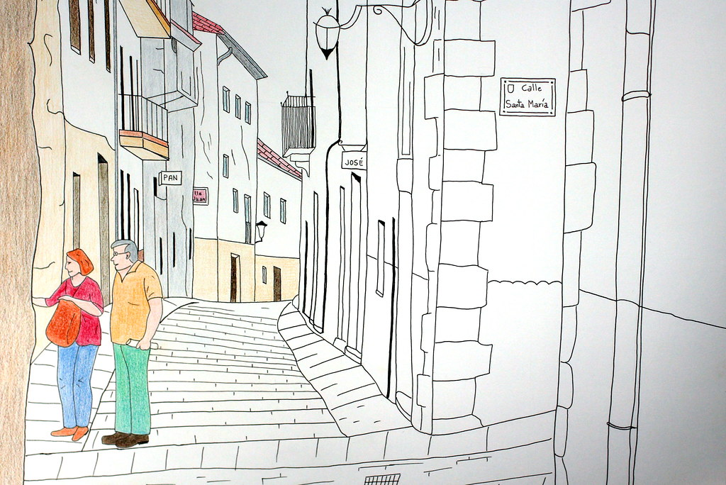 "Pilar dibuja... ""calles de Laredo"""