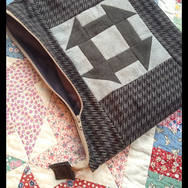 3rd Christmas present of the day made! Flannel pouch (with flannels from Tracey at Quilt Me Happy)