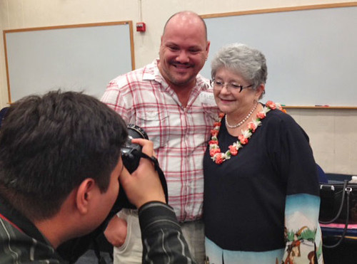 <p>I posed for some pictures with a Honolulu Community College Student Body President Kaleo Gagne after our community forum wrapped up.</p>