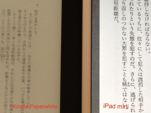 Kindle PaperwhiteとiPad miniの比較:自炊したPDF
