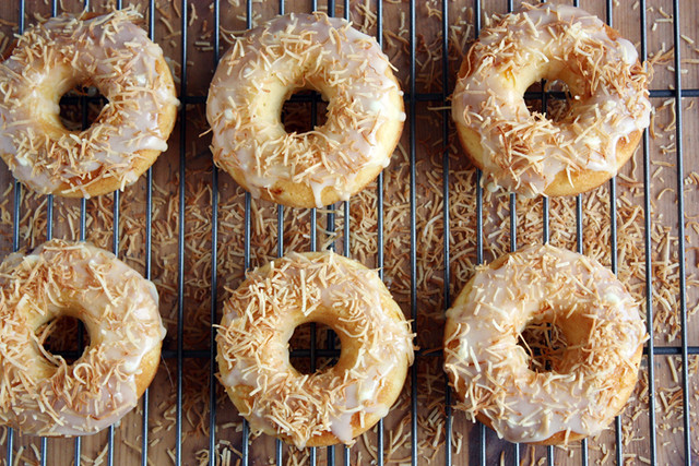 peach + white chocolate donuts.