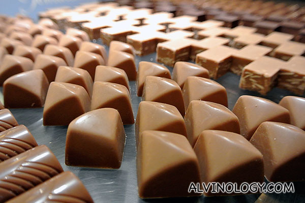 Close-up of a fresh batch of chocolate