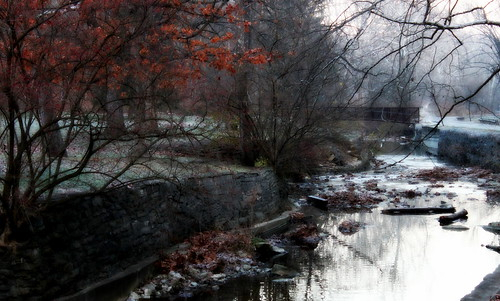 morning bridge autumn fall landscape stream cascades